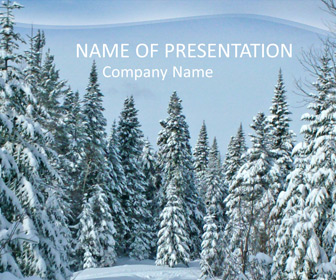 Fir tree covered with snow PPT Template