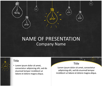 Light Bulbs on Blackboard PowerPoint Template
