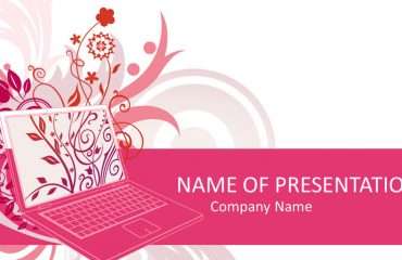 Pink Laptop PowerPoint Template