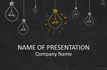 Light Bulbs on Blackboard PowerPoint Template