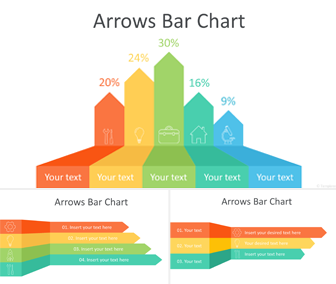 Arrows Bar chart PowerPoint Template