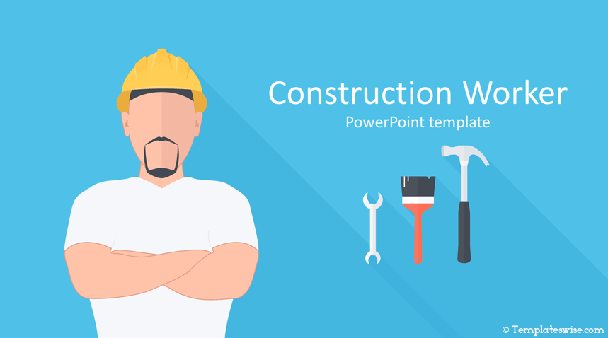 Construction Worker Powerpoint Template Templateswise Com