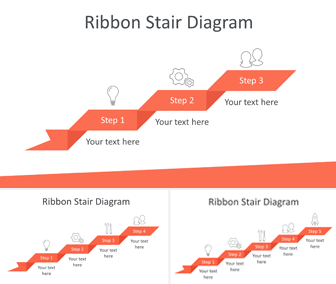 Ribbon Stair Diagram for PowerPoint