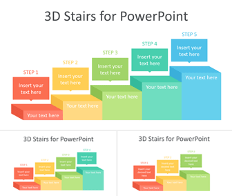 3D Stairs PowerPoint Template