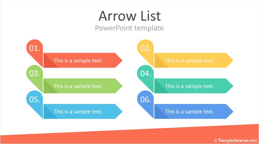 Arrow List Powerpoint Template Templateswise Com