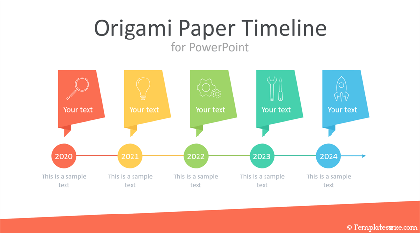 Origami Paper Timeline For Powerpoint Templateswise Com