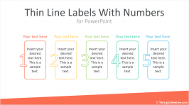 Thin Line Labels With Numbers for PowerPoint
